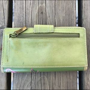 Fossil Green Coated Canvas and Leather Wallet